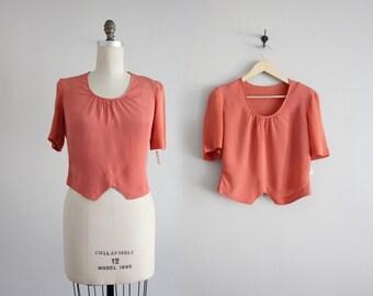 pink crepe blouse / 1940s blouse / salmon pink blouse