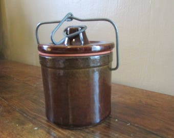 Vintage Cheese Crock - Brown Cheese Crock - Antique Butter Crock