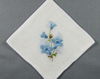 Blue Flowers Embroidered  in all Four Corners of a Cotton Vintage Handkerchief