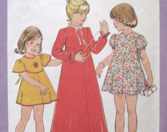 1977 Girls Tie Back Dress Vintage Pattern, Long or Short, Simplicity 8321, Size 6, Breast 25