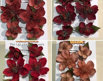 5 colours Available Special Edition Premium Hellebore Hair Pins Kirby Grips set of 6