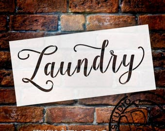Laundry - Graceful Hand Script - Word Stencil - Select Size - STCL1978 - by StudioR12