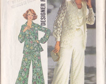 Misses Jacket ~ Top ~ Pants Pattern - Simplicity No 7002 - Size 10 - 3 Piece Wardrobe  Unlined Front Button Shirt Jacket ~  Cut But Complets