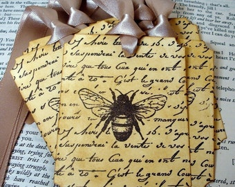 For Leslie-210 Bee Tags with Reverse Message/ Vintage Bee Gift Tags or Labels/ Beekeeper Tags with French Script/