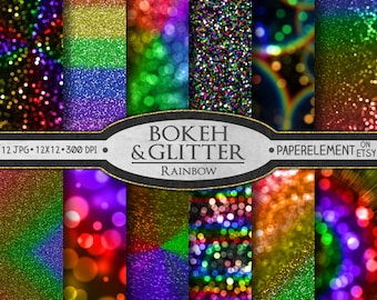 Digital Rainbow Digital Paper: Rainbow Scrapbook Paper, Rainbow Paper, Rainbow Glitter Paper, Multicolor Glitter Rainbow Backdrop Background