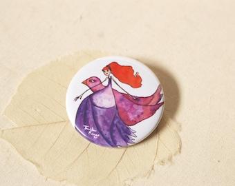 little Miss illustrated round Pocket mirror