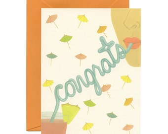 Congrats Straw Cocktail Greeting Card - ID: CON068