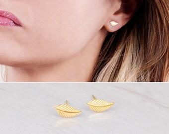 Gold Stud Earrings, Leaf Stud Earrings, Delicate Studs, Small Gold Earrings, Minimal Earrings, Simple Earrings, Sterling Silver, Rose Gold