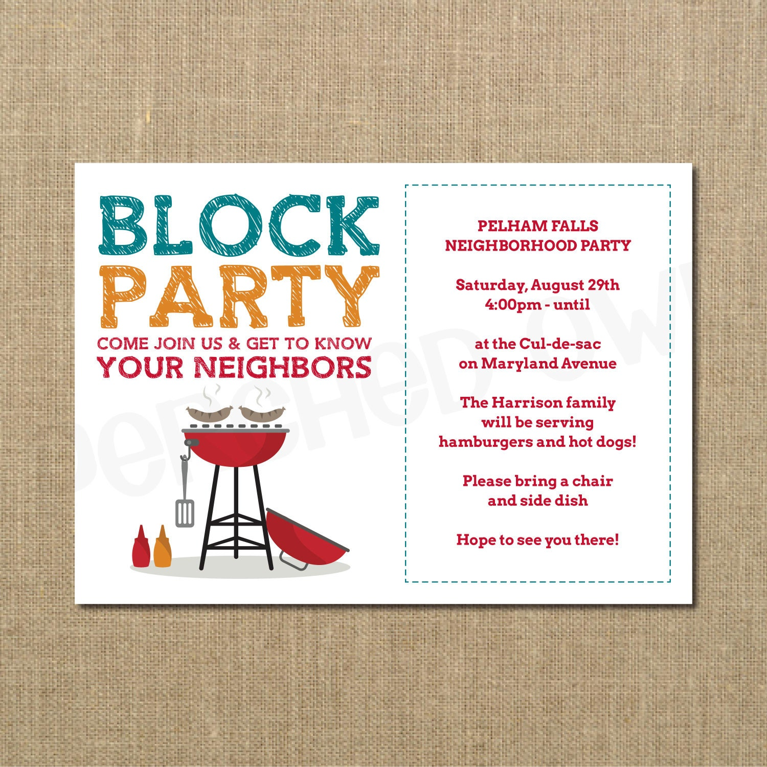Neighborhood block party cookout invitation grilling out zoom monicamarmolfo Choice Image