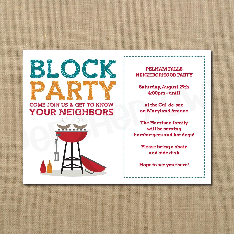 Nachbarschaft Block Party Einladung Grillparty Grillen