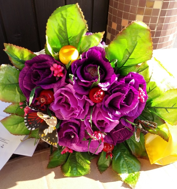 Handmade Crepe Paper Flowers Bouquets with Chocolate Bouquet