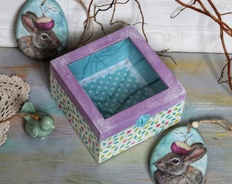Wood box with glass display Box with glass top Trinket box Gift box Storage box Treasury box Flower Mothers gift Spring spirit Spring leaves