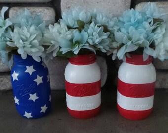 American Flag Mason Jar Set of 3, 4th of July Mason Jar Set, USA Mason Jar Set, 4th of July decor, Patriotic Mason jar set, Patriotic Decor