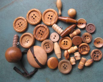 Lot of Vintage WOOD Buttons Various Shapes and Sizes Matching Sets Pairs Singles Tan Brown Crafts
