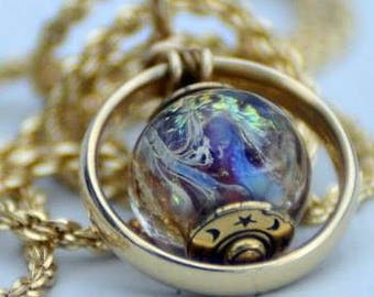 Wedding Ring Memorial Necklace with Ashes in Glass, Cremation Jewelry, Loss of spouse