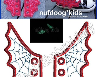 4x4 5x7 SPIDER WEB Shoe Wings Machine Embroidery In Hoop Design Goth Costume Superhero cosplay Steampunk Fantasy Spiderman inspired shoelace