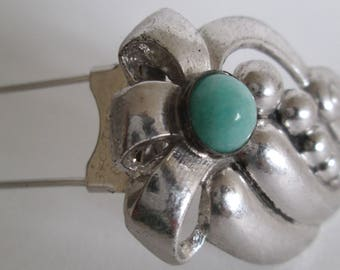 Taylord Sterling Silver Dress Clip with Turquoise Glass -- FREE SHIPPING