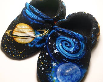 Baby boy booties, baby moccasins, crib shoes, space baby booties, baby shoes, baby slippers, soft sole baby shoes, baby moccs, baby boy shoe