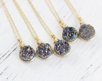 Druzy Gemstone Necklace, Druzy Quartz Necklace, Gold Druzy Necklace, Wire Wrap Necklace, Rainbow Druzy Geode Necklace, Dainty Drop Necklace