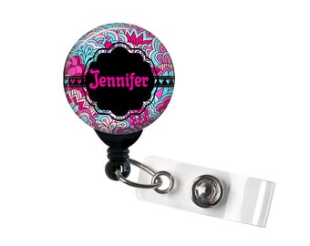 Personalized Aqua, Pink and Black, Retractable ID Badge Reel (D_93)