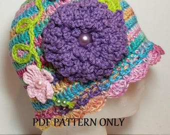 Rainbow Cloche Panama Hat with Flowers and Beads - 1920's and 1930's Downton Abbey Inspired - - Pattern Only