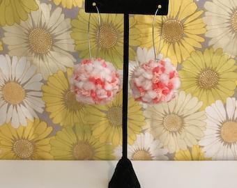 Pom Pom Earrings // Cream, Pink, & Peach