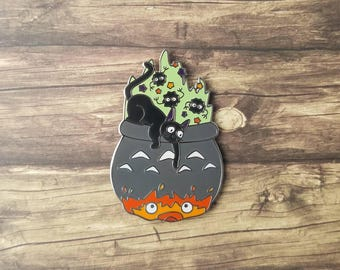 Cat's Brew & Demons Too Pin // Hard Enamel Pin // Ghibli Fanart // Lapel Pin