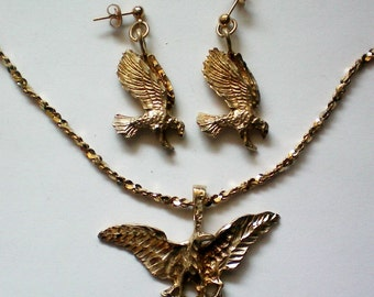 Gold Plated Sterling Eagle Pendant & Pierced Earrings - 3367