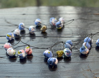 chirimen hanamaru necklace blue
