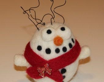 Crazy Needle Felted Snowman