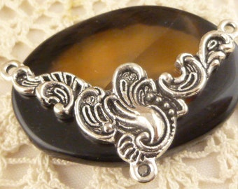 Ornate Swirl Triangle Necklace Connector Charm Pendant, Antiqued Silver (2)