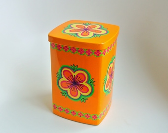 Ira Denmark Anita Wangel orange vintage tin container - psychedelic flower power seventies colorful - '70s- retro