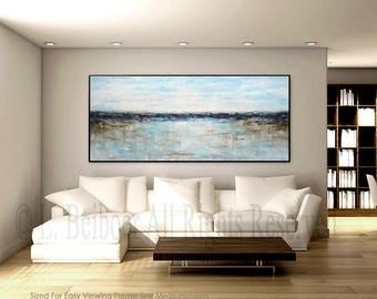 Large landscape painting original abstract art white blue ocean painting modern abstract oil painting artwork by L.Beiboer