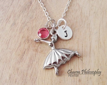 Ballerina Necklace - Silver Plated Ballet Jewelry - Monogram Initial and Personalized Birthstone