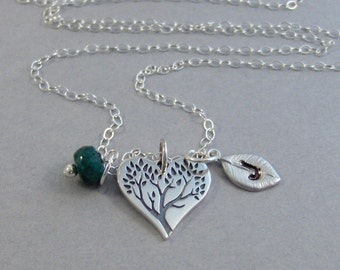 Sterling Family Tree,Necklace,Sterling Silver Necklace,Tree Necklace,Initial leaf,Emerald,Emerald Necklace,Wedding Jewelry,valleygirldesigns