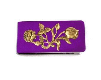 Art Nouveau Roses Money Clip Inlaid in Hand Painted Orchid Purple Glossy Enamel Finish with Personalized and Color Options