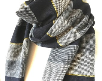 "Cashmere Scarf Border Stripe 22"" x 79"" Monotone with Mustard Yellow Accent Unisex Design"