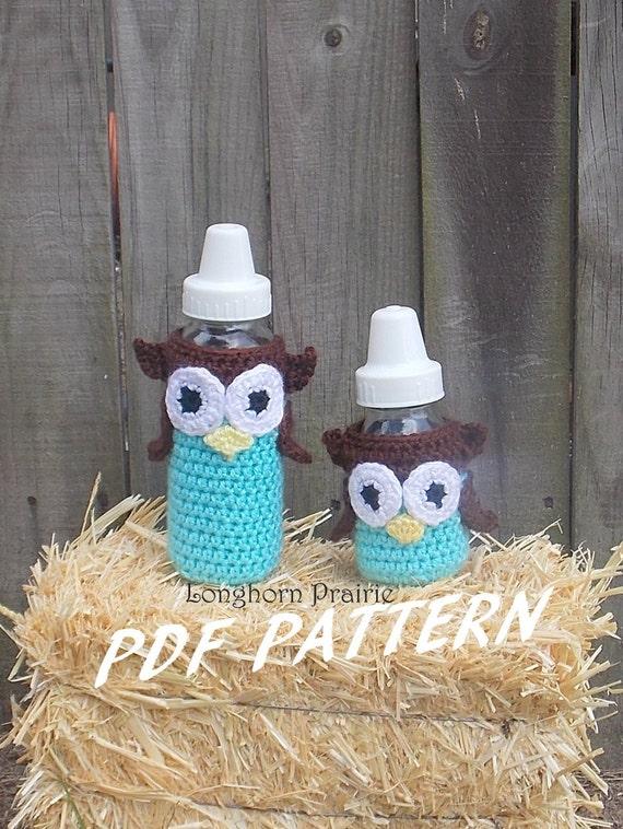 Owl Baby Bottle Cover crochet PATTERN PDF instant download