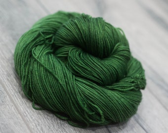 Canadian Hand-dyed sock yarn. 70/20/10 SW Merino/Cashmere/Nylon. 115g 400 yards. Ready To Ship. Cthulu. Semi-Solid green yarn