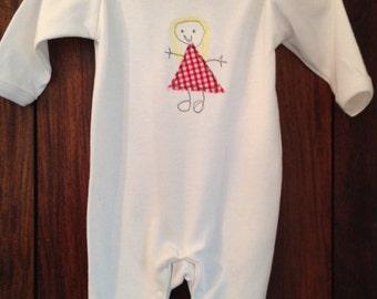 Free Motion Machine Embroidered Newborn Unique Gift, Little Girl Babygrow Sleepsuit Onesie Romper