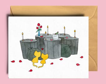 Love card - Cat lover - Funny valentine card - I love you card - Watercolor card - I love you - handmade in France - The Yellow Cat Studio.