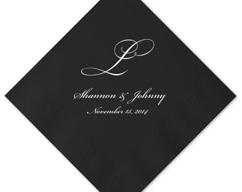 100 Personalized 3 Ply Premium Quality Napkins Personalized Napkins Wedding Anniversary Engagement Printed Custom Monogram