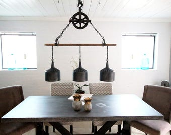 FREE SHIPPING  funnel lamp 3 Funnel Chandelier with Barnwood Beam and Iron Pulley.  funnel lamp Rustic Chandelier Lighting,
