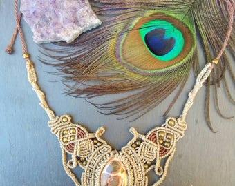 Macrame's necklace with Leopardita Jasper crimped