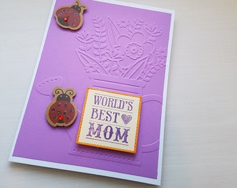 Mother's Day card - ladybugs and flowers