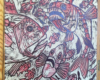 Fish carving, carved, woodblock