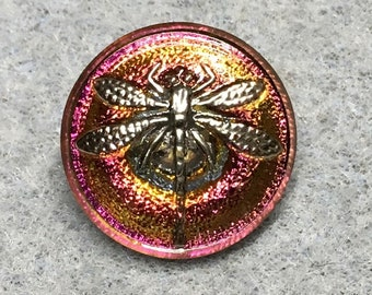 Radiant Orchid Dragonfly Czech Glass Button with Silver Detail with Metal Shank 18mm