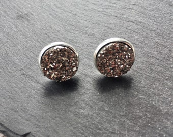 Silver faux druzy studs, sparkly earrings, stud earrings, glittery earrings, girlie earrings, silver sparkly studs, alternative earrings