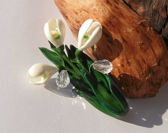 Snowdrops brooch snowdrops jewelry white flowers jewelry polymer clay jewelry gift for her flower pin floral jewelry floral brooch white pin