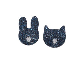 Small rabbit and Navy blue glitter cat brooches